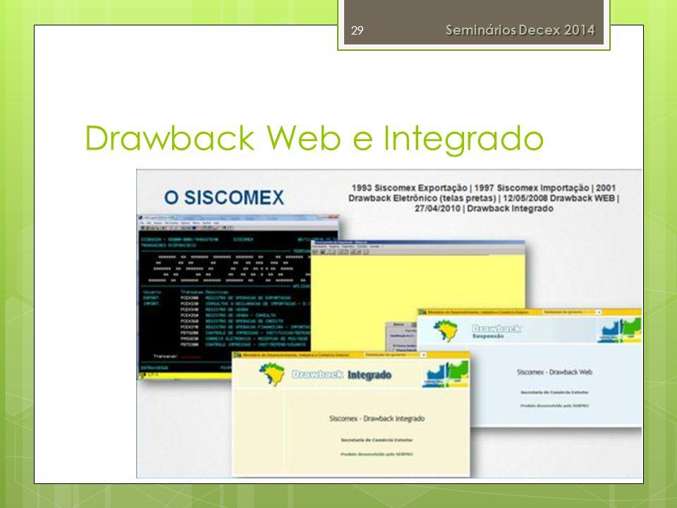 Drawback Web e Integrado 29 Seminários Decex 2014