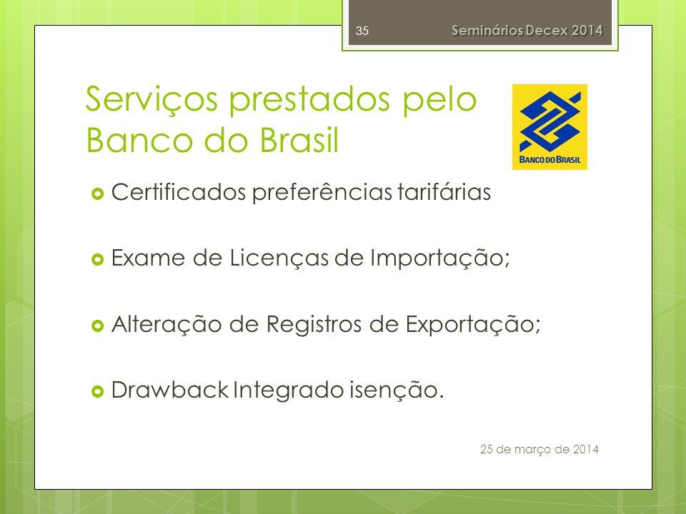 Serviços prestados pelo Banco do Brasil Certificados preferências tarifárias Exame de Licenças de Importação; Alteração de Registros de Exportação; Drawback Integrado isenção.