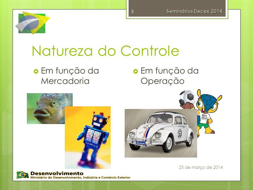 Natureza do Controle 5 Em função da Mercadoria Em função da Operação Seminários Decex 2014 25 de março de 2014