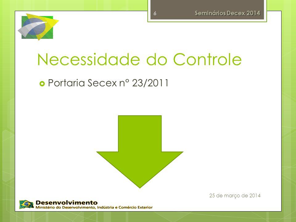 Necessidade do Controle Portaria Secex n° 23/2011 6 Seminários Decex 2014 25 de março de 2014