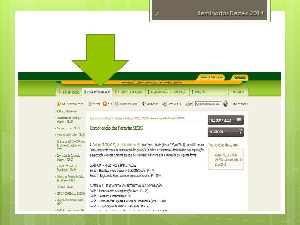 Operacionalização do Tratamento Administrativo Siscomex Módulo Tratamento Administrativo Siscomex Exportação – Novoex Siscomex Importação Drawback Integrado 18 Seminários Decex 2014 25 de março de 2014