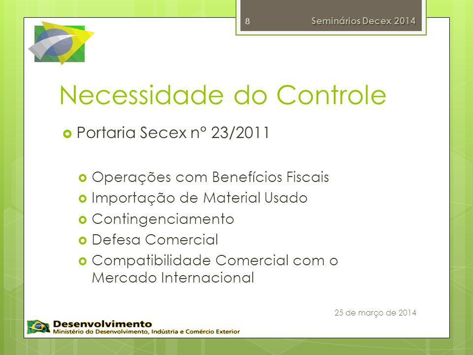 Necessidade do Controle Portaria Secex n° 23/2011 Operações com Benefícios Fiscais Importação de Material Usado Contingenciamento Defesa Comercial Compatibilidade Comercial com o Mercado Internacional 8 Seminários Decex 2014 25 de março de 2014