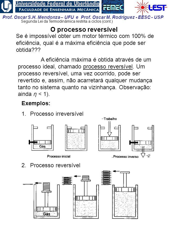 Prof. Oscar S.H. Mendonza – UFU e Prof. Oscar M. Rodriguez - EESC - USP O processo reversível Se é impossível obter um motor térmico com 100% de efici