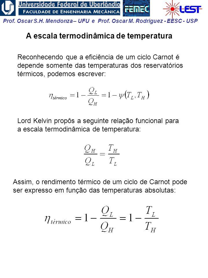 Prof. Oscar S.H. Mendonza – UFU e Prof. Oscar M. Rodriguez - EESC - USP A escala termodinâmica de temperatura Reconhecendo que a eficiência de um cicl