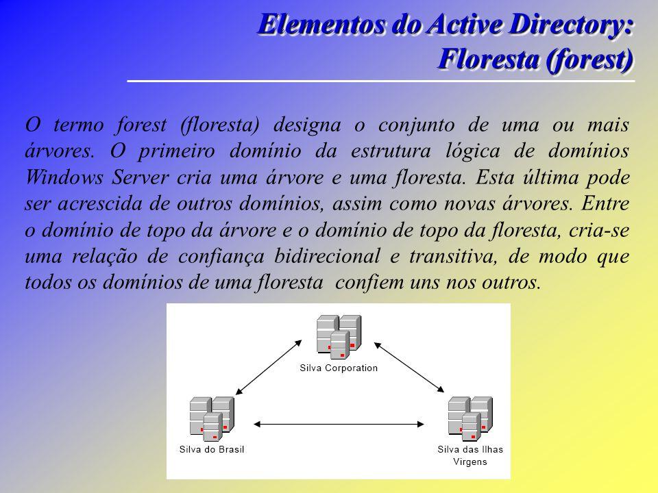 Elementos do Active Directory: Árvore (tree) Elementos do Active Directory: Árvore (tree) O domínio inicial do Active Directory, que gerencia toda a estrutura de serviços, e denominado, na organização lógica do Active Directory, como tree root domain.