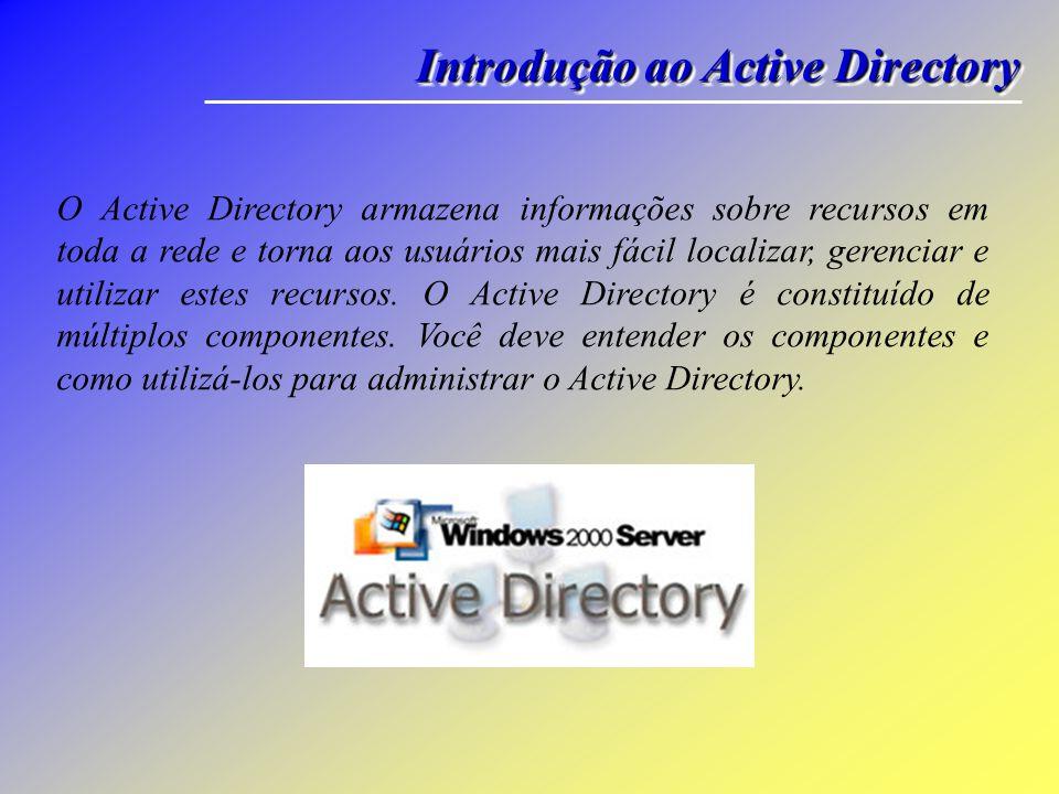 Os objetos do Active Directory representam recursos de rede, como usuários, grupos, computadores e impressoras.
