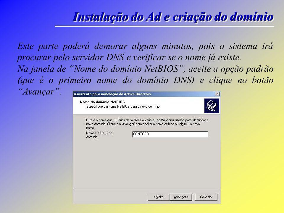 Instalação do Ad e criação do domínio Entre com o nome DNS completo do domínio, por exemplo: contoso.com.br Clique no botão Avançar.