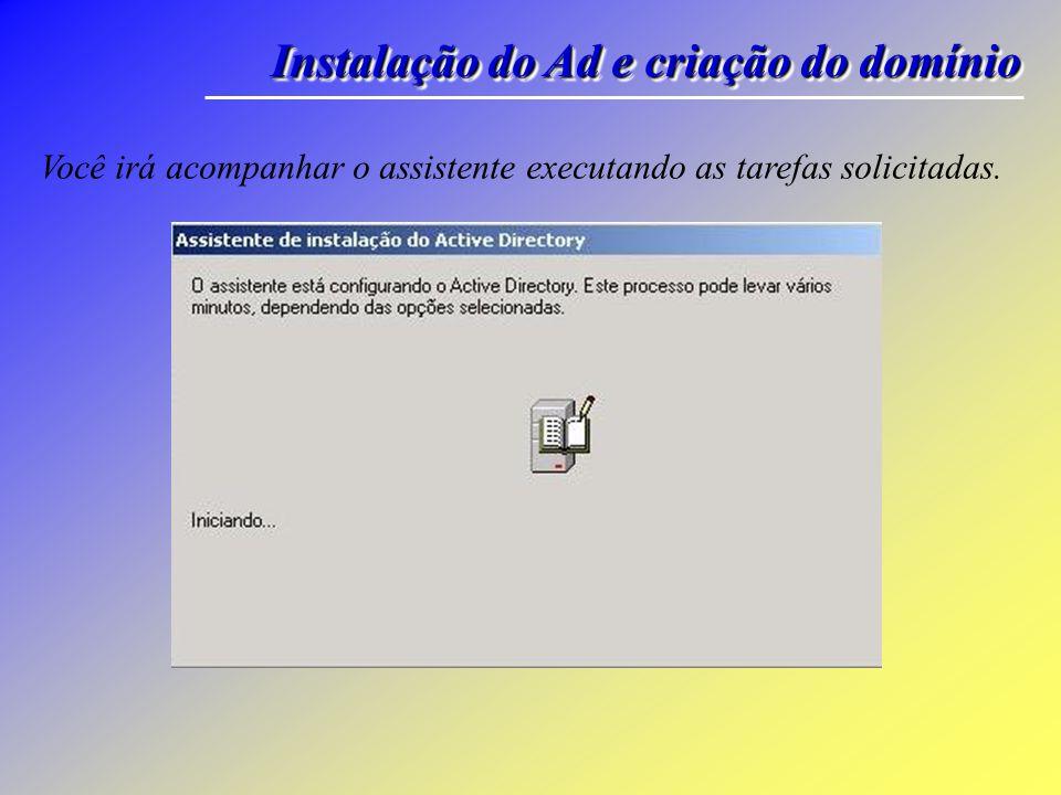Instalação do Ad e criação do domínio Na janela de Resumo, verifique as opções selecionadas.