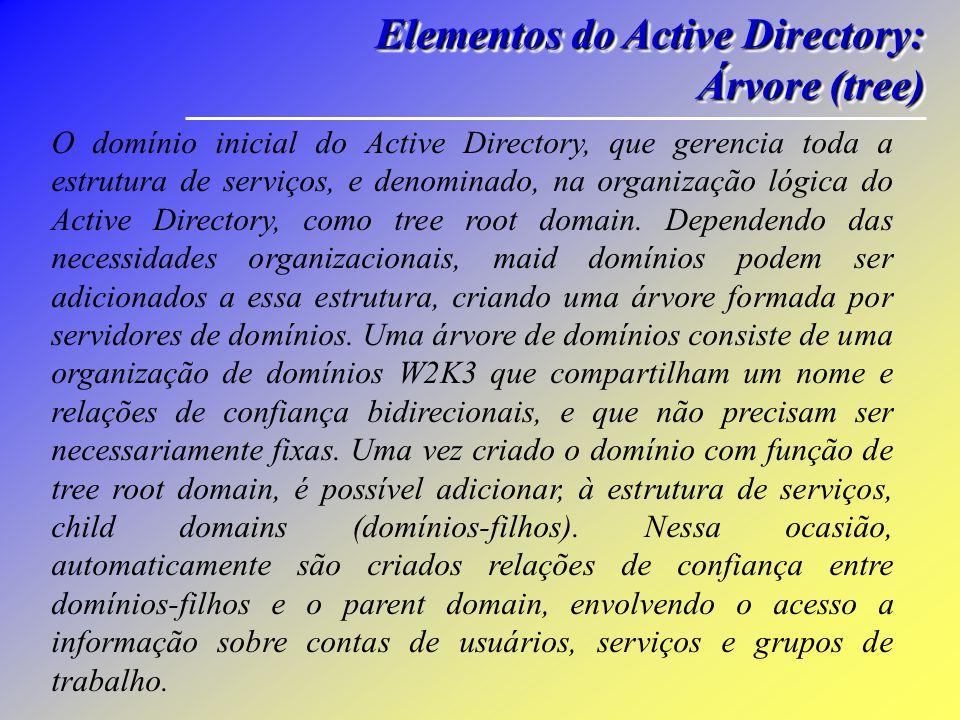 Elementos do Active Directory: Workgroup Workgroup Elementos do Active Directory: Workgroup Workgroup A inclusão de uma máquina em um grupo de trabalho local ou Workgroup determina que ela possa ser utilizada por um grupo de usuários, que deve requisitar uma autorização local (na próxima máquina) para ter acesso ao sistema operacional.