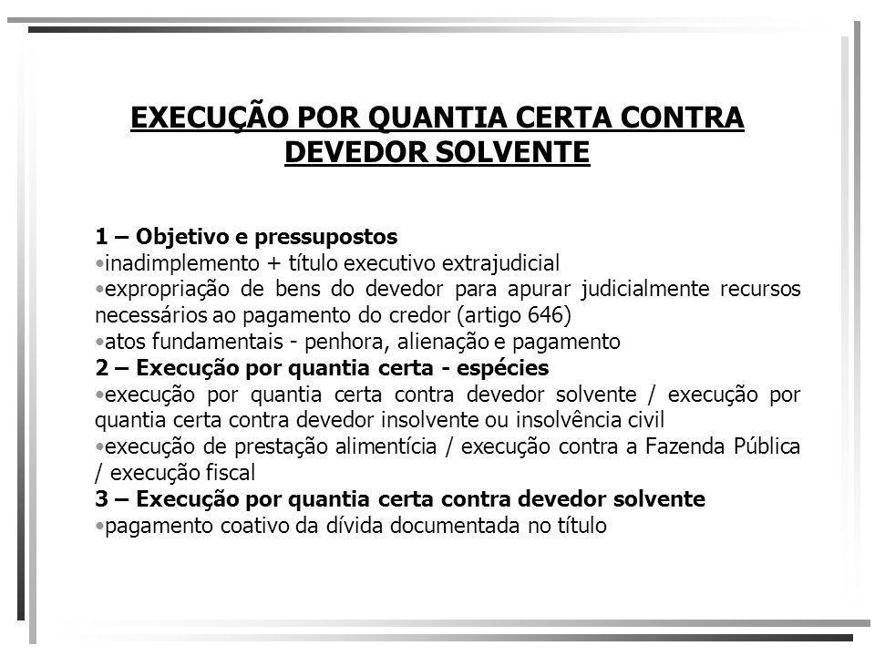 EXECUÇÃO POR QUANTIA CERTA CONTRA DEVEDOR SOLVENTE 1 – Objetivo e pressupostos inadimplemento + título executivo extrajudicial expropriação de bens do