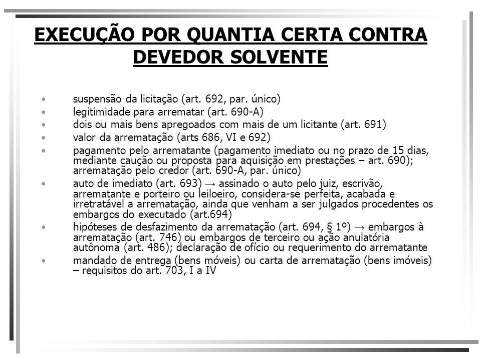 EXECUÇÃO POR QUANTIA CERTA CONTRA DEVEDOR SOLVENTE suspensão da licitação (art. 692, par. único) legitimidade para arrematar (art. 690-A) dois ou mais