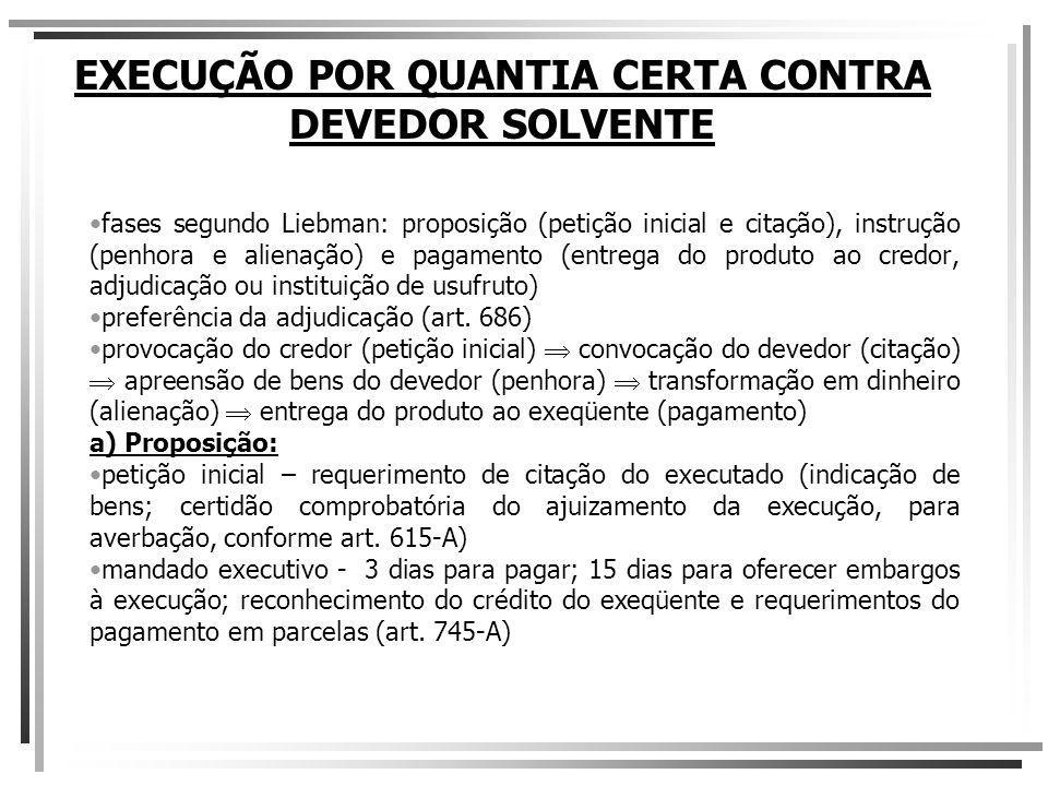 EXECUÇÃO POR QUANTIA CERTA CONTRA DEVEDOR SOLVENTE c.2) Adjudicação arts.
