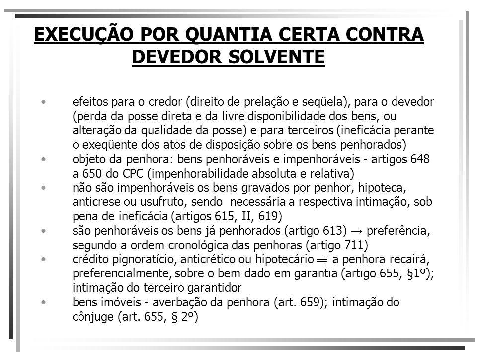 EXECUÇÃO POR QUANTIA CERTA CONTRA DEVEDOR SOLVENTE ordem preferencial de penhora (art.