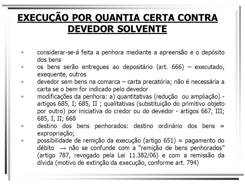 EXECUÇÃO POR QUANTIA CERTA CONTRA DEVEDOR SOLVENTE b.2) Alienação por iniciativa particular art.