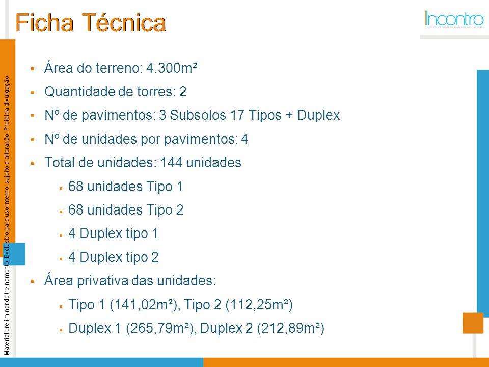 Ficha Técnica Área do terreno: 4.300m² Quantidade de torres: 2 Nº de pavimentos: 3 Subsolos 17 Tipos + Duplex Nº de unidades por pavimentos: 4 Total d