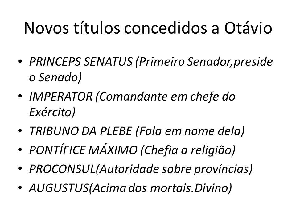Novos títulos concedidos a Otávio PRINCEPS SENATUS (Primeiro Senador,preside o Senado) IMPERATOR (Comandante em chefe do Exército) TRIBUNO DA PLEBE (F