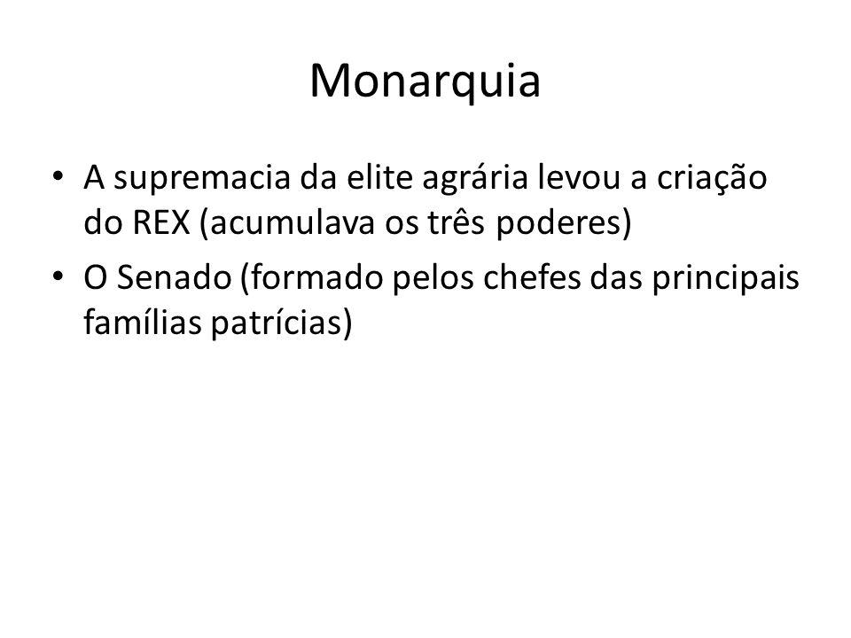 Monarquia A supremacia da elite agrária levou a criação do REX (acumulava os três poderes) O Senado (formado pelos chefes das principais famílias patr