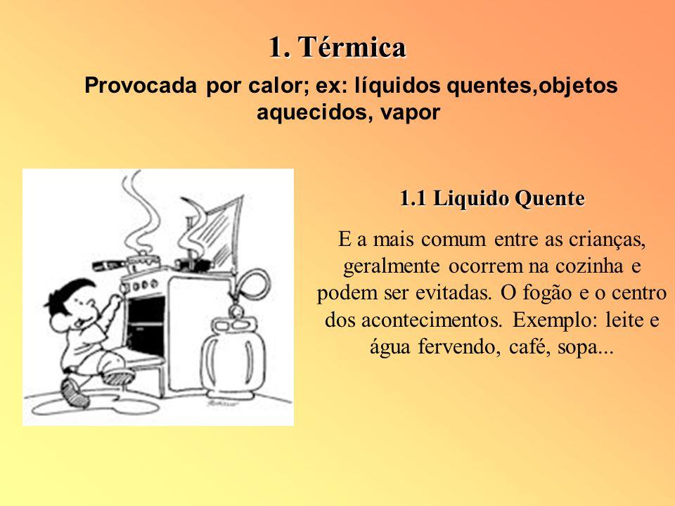 Provocada por calor; ex: líquidos quentes,objetos aquecidos, vapor 1.1 Liquido Quente E a mais comum entre as crianças, geralmente ocorrem na cozinha