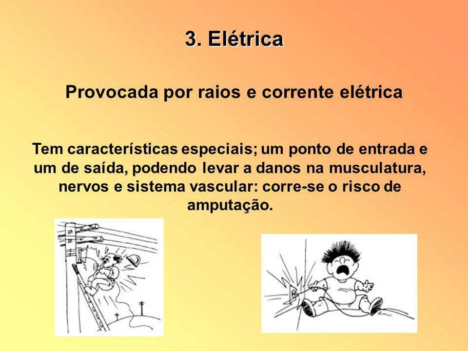Provocada por raios e corrente elétrica Tem características especiais; um ponto de entrada e um de saída, podendo levar a danos na musculatura, nervos