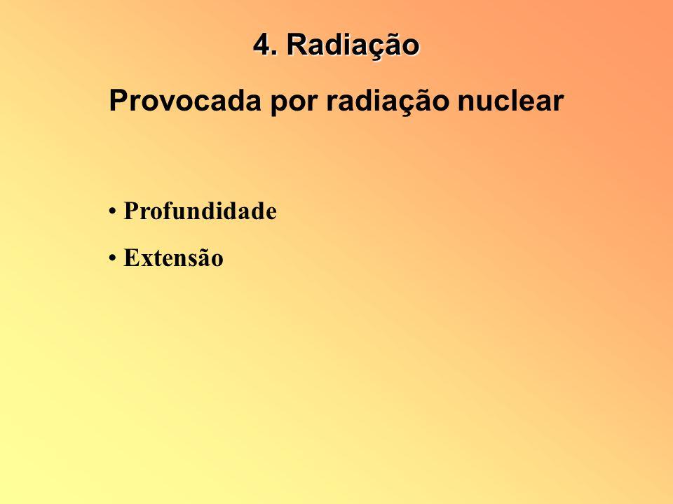 Provocada por radiação nuclear Profundidade Extensão 4. Radiação