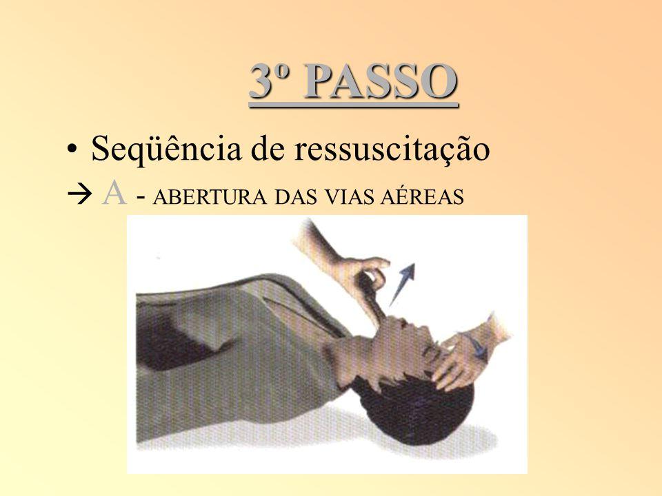 3º PASSO Seqüência de ressuscitação A - ABERTURA DAS VIAS AÉREAS