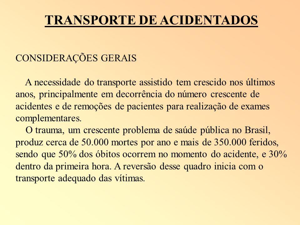 TRANSPORTE DE ACIDENTADOS CONSIDERAÇÕES GERAIS A necessidade do transporte assistido tem crescido nos últimos anos, principalmente em decorrência do n