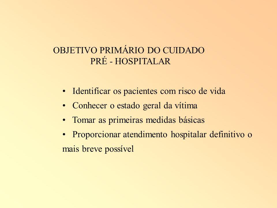 OBJETIVO PRIMÁRIO DO CUIDADO PRÉ - HOSPITALAR Identificar os pacientes com risco de vida Conhecer o estado geral da vítima Tomar as primeiras medidas