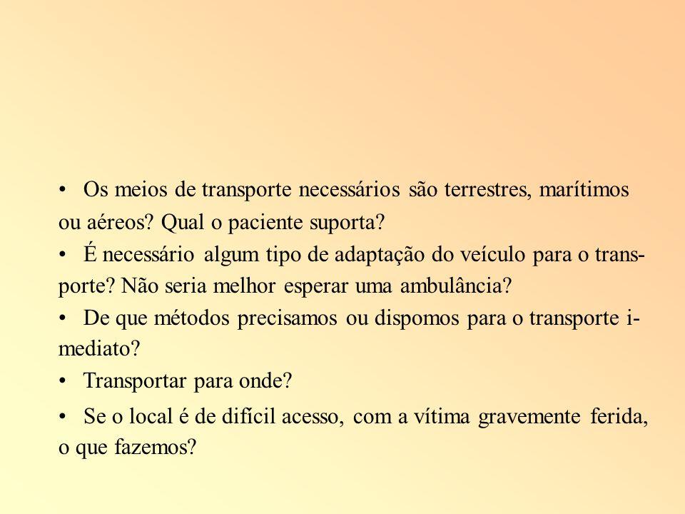 Os meios de transporte necessários são terrestres, marítimos ou aéreos? Qual o paciente suporta? É necessário algum tipo de adaptação do veículo para