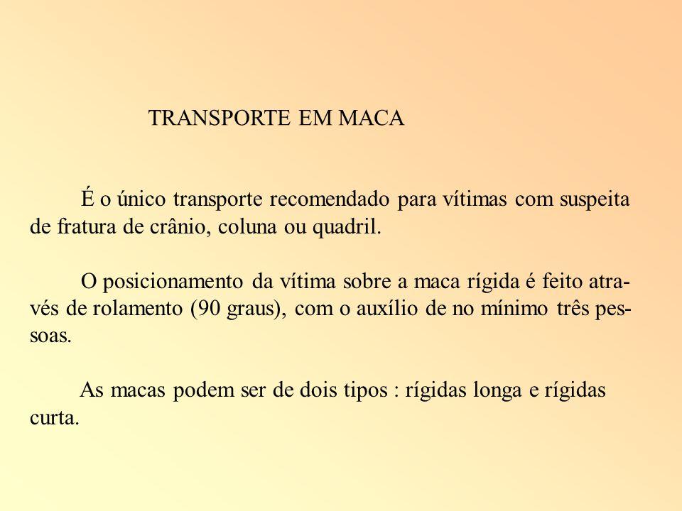 TRANSPORTE EM MACA É o único transporte recomendado para vítimas com suspeita de fratura de crânio, coluna ou quadril. O posicionamento da vítima sobr