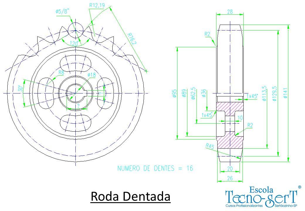 Dividir este trabalho em 2 desenhos: 1º desenho: Desenhar a Roda Dentada conforme desenho da apostila.
