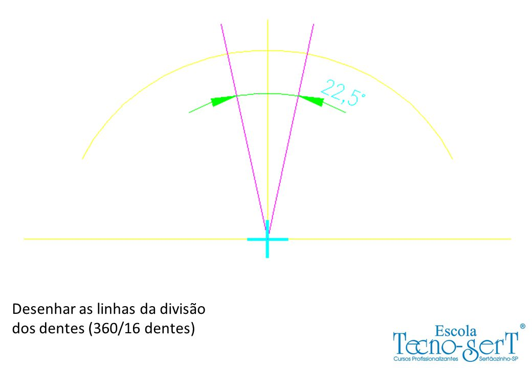 Desenhar as linhas da divisão dos dentes (360/16 dentes)