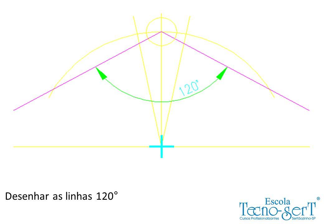 Achando o centro do Raio 12,19: Primeiro: Traçar o Raio 64,01 (76,2-12,19)