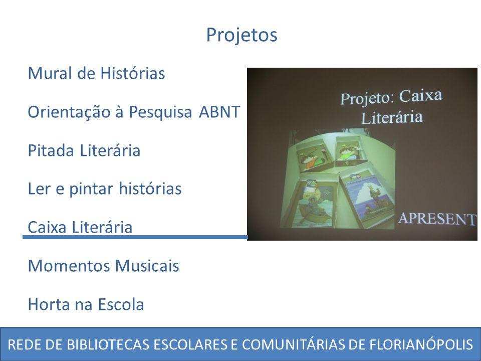 Projetos Mural de Histórias Orientação à Pesquisa ABNT Pitada Literária Ler e pintar histórias Caixa Literária Momentos Musicais Horta na Escola
