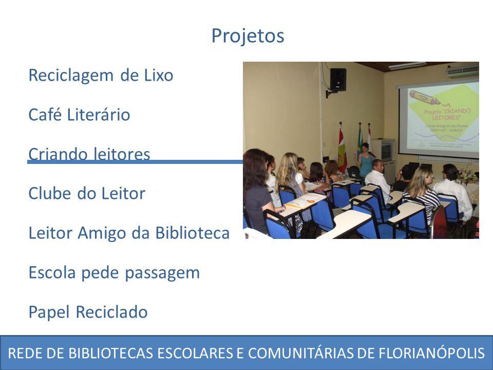 REDE DE BIBLIOTECAS ESCOLARES E COMUNITÁRIAS DE FLORIANÓPOLIS Projetos Reciclagem de Lixo Café Literário Criando leitores Clube do Leitor Leitor Amigo