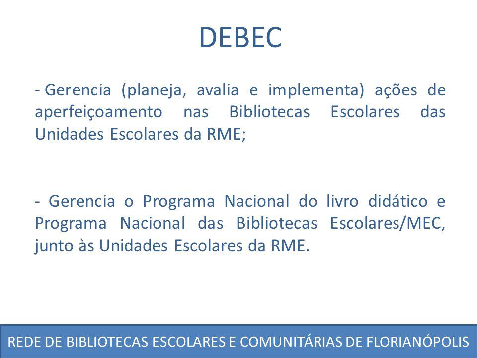 REDE DE BIBLIOTECAS ESCOLARES E COMUNITÁRIAS DE FLORIANÓPOLIS DEBEC - Gerencia (planeja, avalia e implementa) ações de aperfeiçoamento nas Bibliotecas