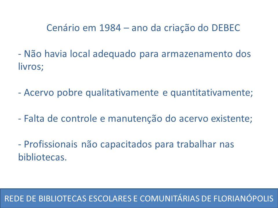 REDE DE BIBLIOTECAS ESCOLARES E COMUNITÁRIAS DE FLORIANÓPOLIS Cenário em 1984 – ano da criação do DEBEC - Não havia local adequado para armazenamento