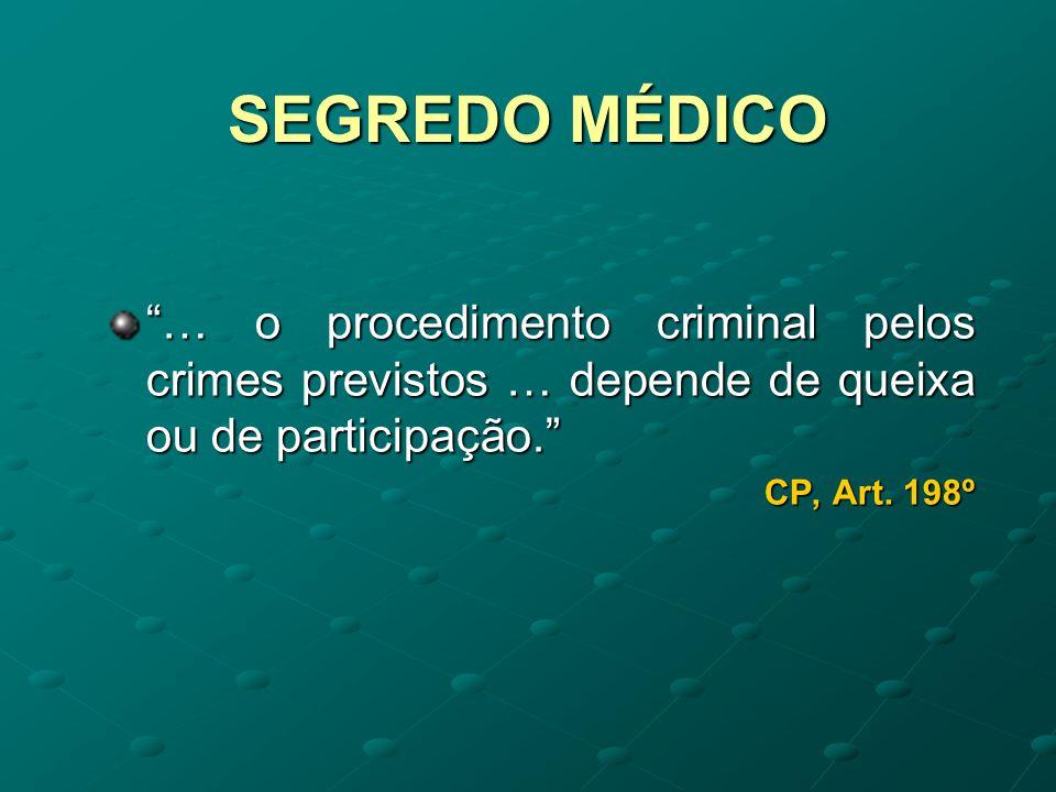 SEGREDO MÉDICO Não haverá que considerar o segredo médico quando é o doente quem, invocando uma falta profissional do médico que o tratou, o leva aos tribunais.