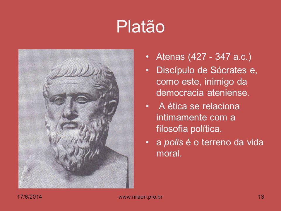 Platão Atenas (427 - 347 a.c.) Discípulo de Sócrates e, como este, inimigo da democracia ateniense. A ética se relaciona intimamente com a filosofia p