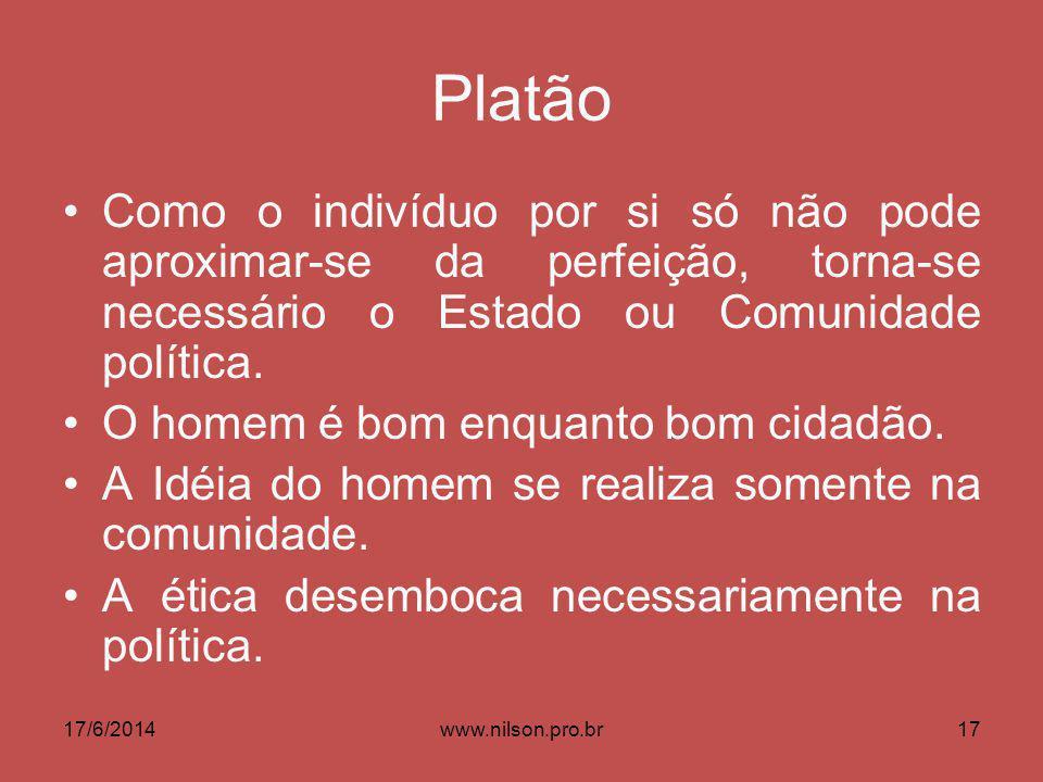 Platão Como o indivíduo por si só não pode aproximar-se da perfeição, torna-se necessário o Estado ou Comunidade política. O homem é bom enquanto bom