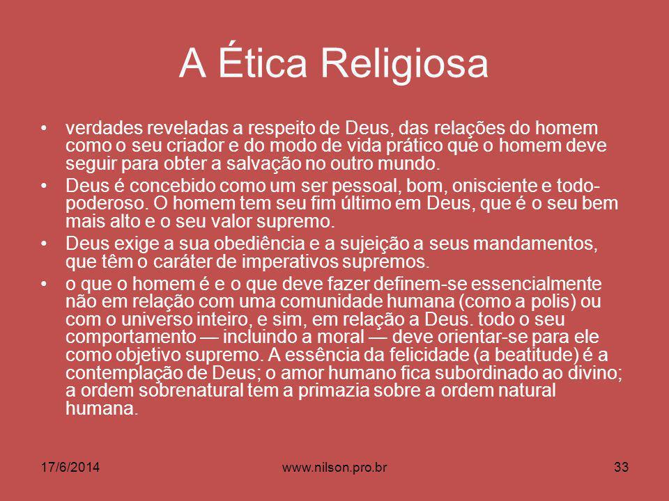 A Ética Religiosa verdades reveladas a respeito de Deus, das relações do homem como o seu criador e do modo de vida prático que o homem deve seguir para obter a salvação no outro mundo.