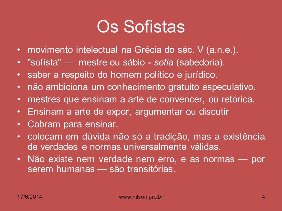 Os Sofistas movimento intelectual na Grécia do séc.