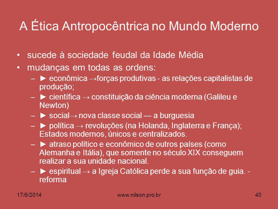 A Ética Antropocêntrica no Mundo Moderno sucede à sociedade feudal da Idade Média mudanças em todas as ordens: – econômica forças produtivas - as rela