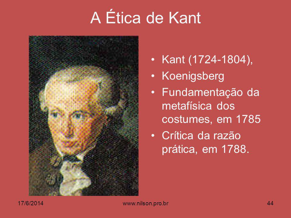 A Ética de Kant Kant (1724-1804), Koenigsberg Fundamentação da metafísica dos costumes, em 1785 Crítica da razão prática, em 1788. 17/6/201444www.nils