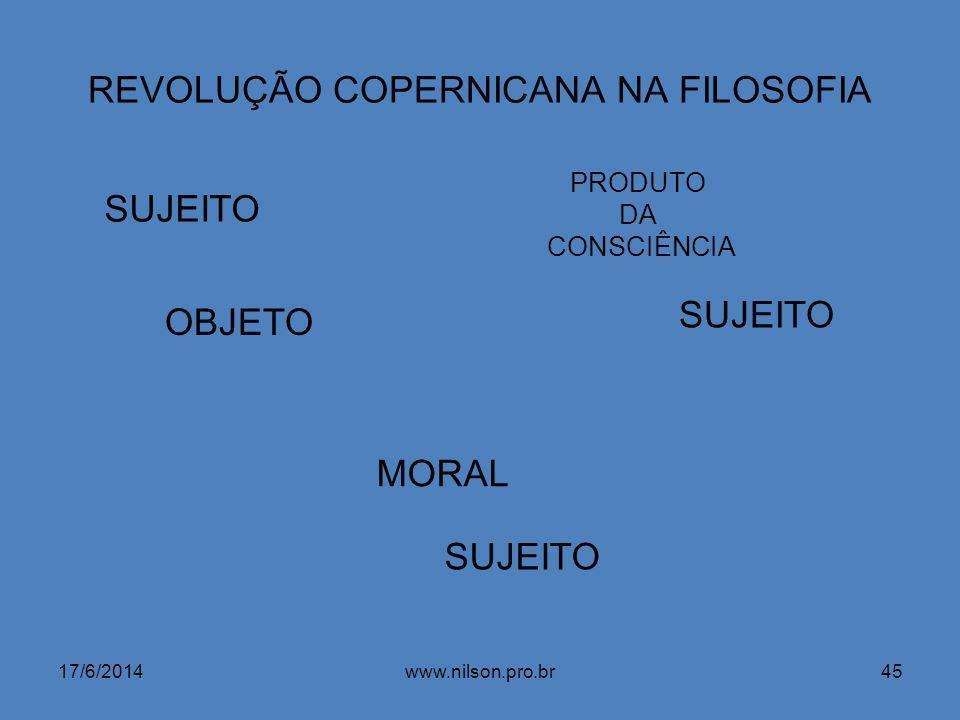 REVOLUÇÃO COPERNICANA NA FILOSOFIA SUJEITO OBJETO MORAL PRODUTO DA CONSCIÊNCIA SUJEITO 17/6/201445www.nilson.pro.br