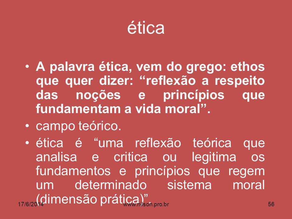 ética A palavra ética, vem do grego: ethos que quer dizer: reflexão a respeito das noções e princípios que fundamentam a vida moral.