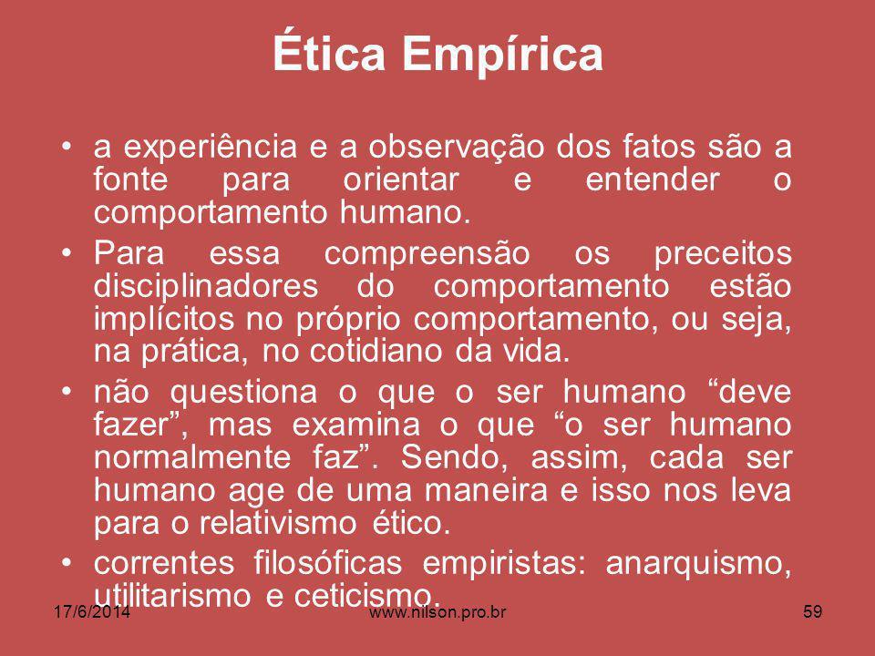 Ética Empírica a experiência e a observação dos fatos são a fonte para orientar e entender o comportamento humano. Para essa compreensão os preceitos