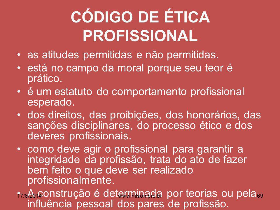 CÓDIGO DE ÉTICA PROFISSIONAL as atitudes permitidas e não permitidas.