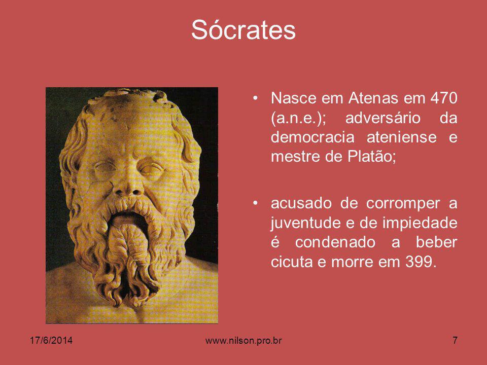 Sócrates Nasce em Atenas em 470 (a.n.e.); adversário da democracia ateniense e mestre de Platão; acusado de corromper a juventude e de impiedade é condenado a beber cicuta e morre em 399.