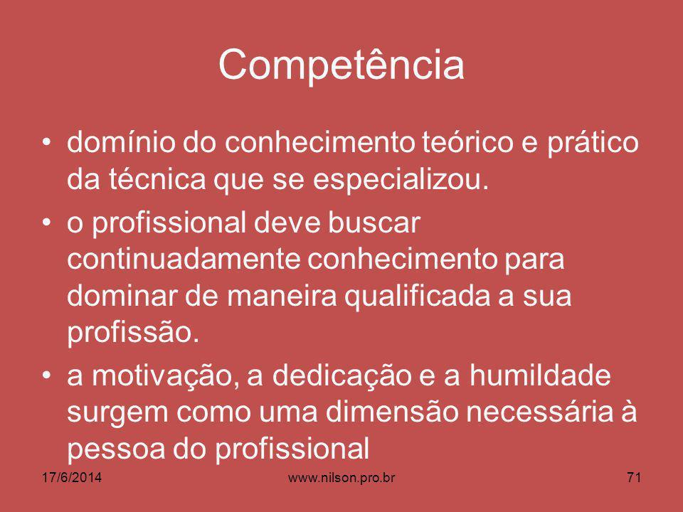 Competência domínio do conhecimento teórico e prático da técnica que se especializou. o profissional deve buscar continuadamente conhecimento para dom