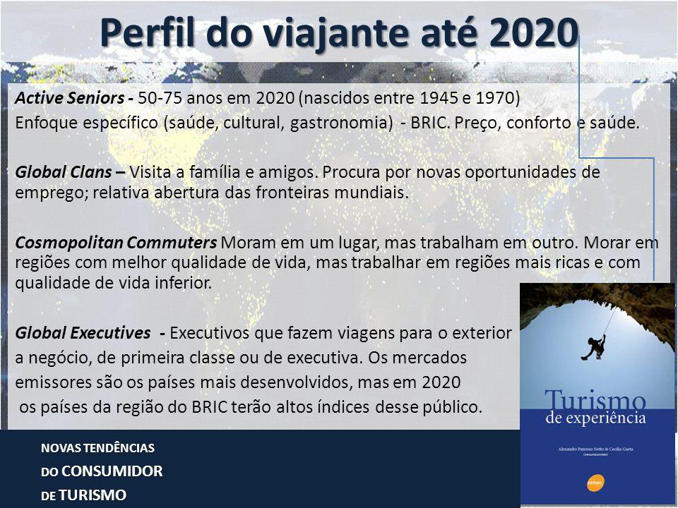 Active Seniors - 50-75 anos em 2020 (nascidos entre 1945 e 1970) Enfoque específico (saúde, cultural, gastronomia) - BRIC. Preço, conforto e saúde. Gl
